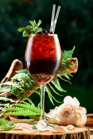 refreshing red summer cocktail with ice and mint on the nature green leaves background. space. close up. Stock Photo