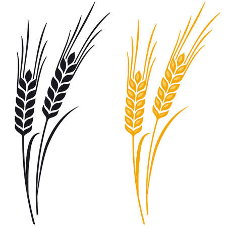 Ears of Wheat, Barley or Rye visual graphic icons, ideal for bread packaging, beer labels etc.