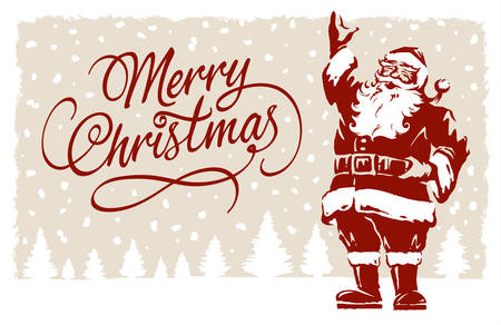 Vintage style Father Christmas, Santa Claus illustration, with Merry Christmas script calligraphic type.