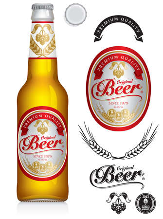 Beer Label and neck label on clear transparent glass beer bottle 330 ml with aluminum lid