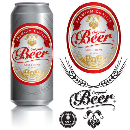 Beer Label visual on Black aluminum drinks can 500ml, ideal for beer.