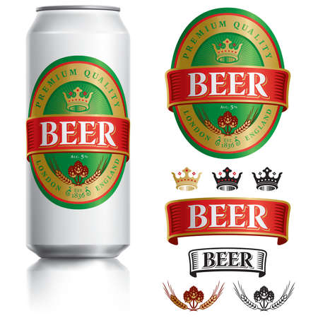 Beer Label vector visual on Black aluminum drinks can 500ml, ideal for beer. Banque d'images - 121815939