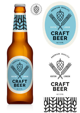 Craft Beer Label and neck label on brown bottle 330 ml - visual, Drawn with mesh tool.
