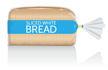 Sliced white bread loaf visual, in clear plastic film bag.