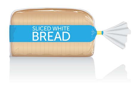 Visuel de pain blanc tranché, dans un sachet en film plastique transparent. Vecteurs