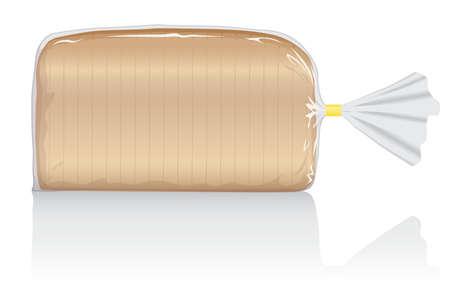Visuel de pain blanc tranché, dans un sachet en film plastique transparent.