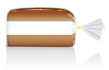 Sliced brown bread loaf vector visual, in clear plastic film bag. Fully adjustable and scalable Imagens