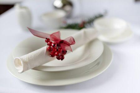 White crockery with Christmas decoration