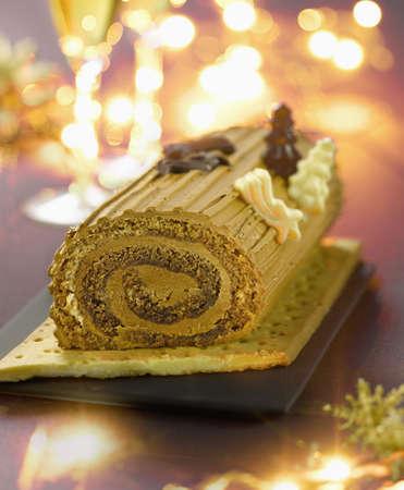 Christmas coffee log cake