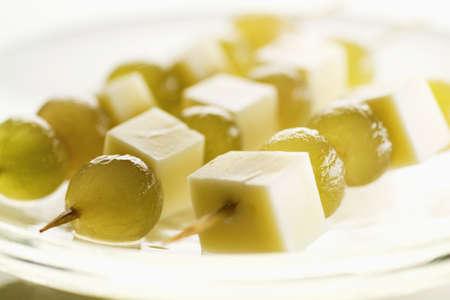 White grape and Comté brochettes