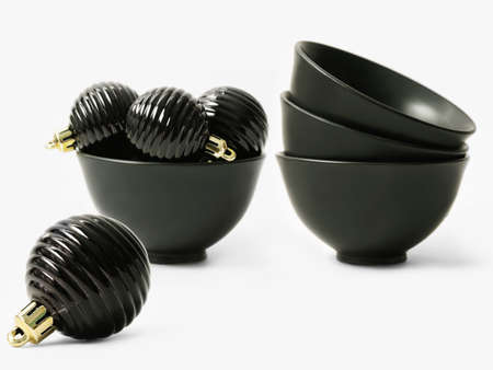 Black balls for the Christmas tree and black bowls Stock Photo - 15987545
