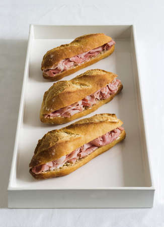Ham and butter baguette sandwiches Stock Photo - 15987641