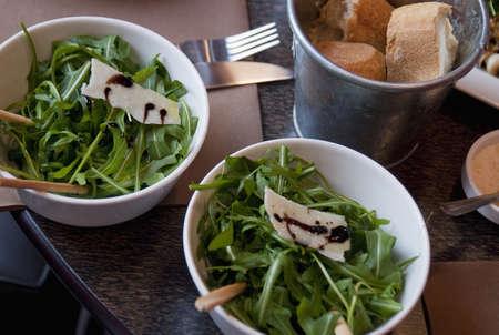 rocket lettuce: Rocket lettuce salad with parmesan flakes and balsamic vinaigar LANG_EVOIMAGES