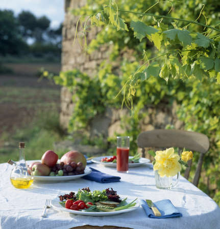 Table layed outdoors