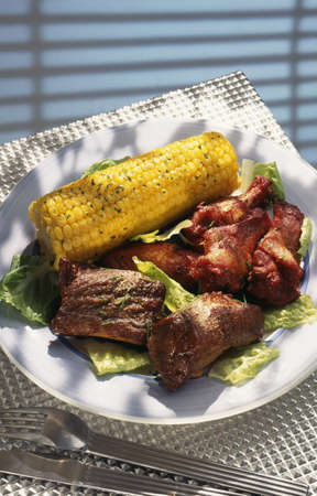 Grilled spare ribs,chicken and corn on the cob Stock Photo - 17229147