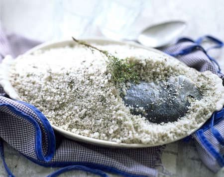 sea bream: Sea bream in salt crust