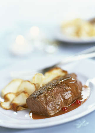 food: Thick piece of doe with cranberries