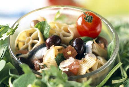 anchovy: Pasta and marinated anchovy salad
