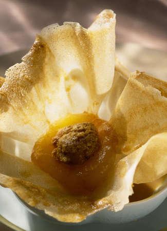 Apricot and cinnamon filo pastry purse Stock Photo - 17026236