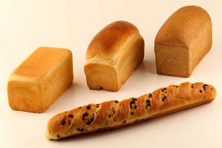 Assorted sandwich bread loaves and a chocolate chip milkbread Stock Photo - 17026275