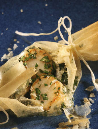 filo pastry: Scallops and herbs cooked in filo pastry
