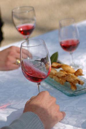 Tasting rosé wine Stock Photo - 17026732