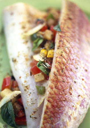 Red mullet fillets with basil and ratatouille Stock Photo - 17026925