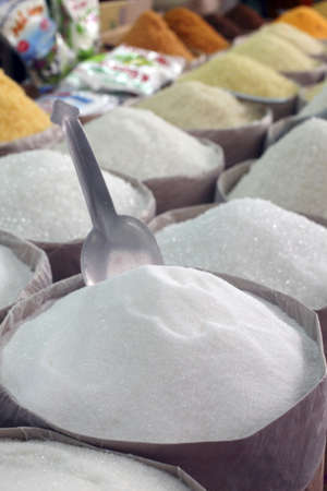 alignement: Assorted sugars on a market stall