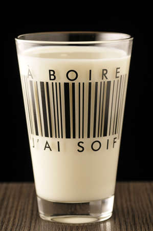 Glass of milk with inscriptions Stock Photo - 17027198