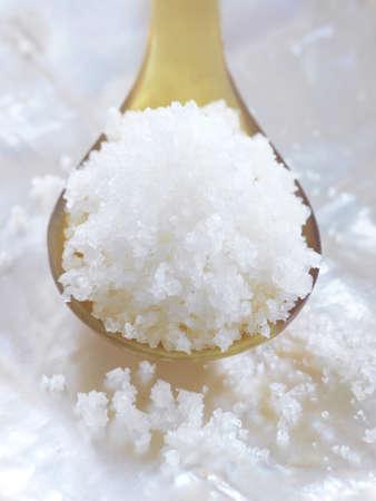 sel: Spoonful of Fleur de sel sea salt from Guérande