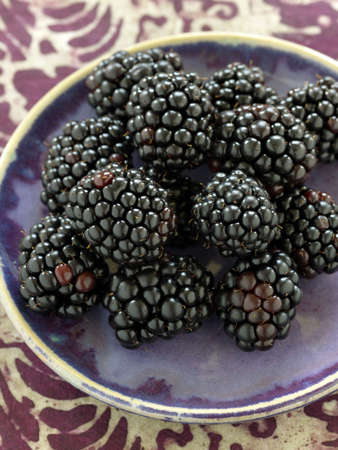 blackberry fruit: Small plate of blackberries