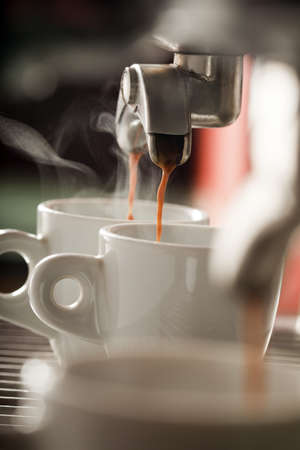Expresso machine pouring two coffees Stock Photo - 17026438