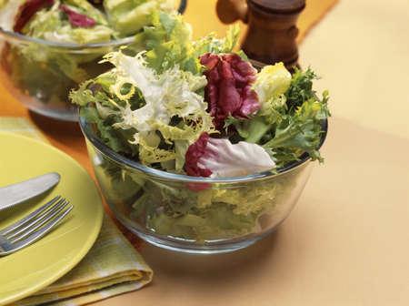 lettuces: Mixed lettuces in a salad bowl LANG_EVOIMAGES