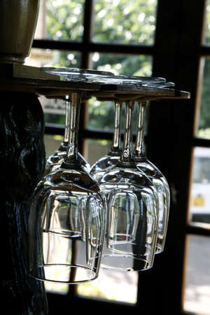 Empty glasses hanging Stock Photo - 17027965