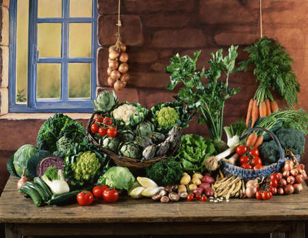 Vegetable composition on a kitchen table Stock Photo - 17028914