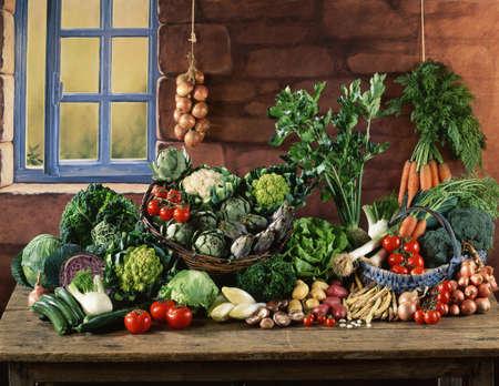 garden bean: Vegetable composition on a kitchen table