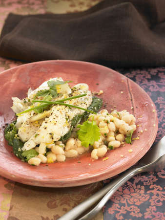 Salt-cod with spinach,white beans and fresh herbs Stock Photo - 17029085