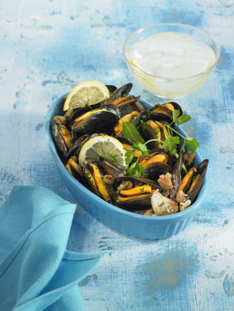 Mussels cooked in white wine with garlic and parsley Stock Photo - 17025975