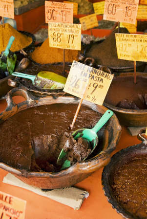 Dishes of Mole on a market stall Stock Photo - 17029176