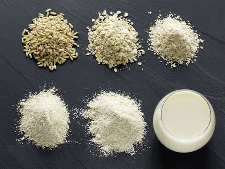 Composition with oats,gruel,bran,flour and milk Stock Photo - 17029348