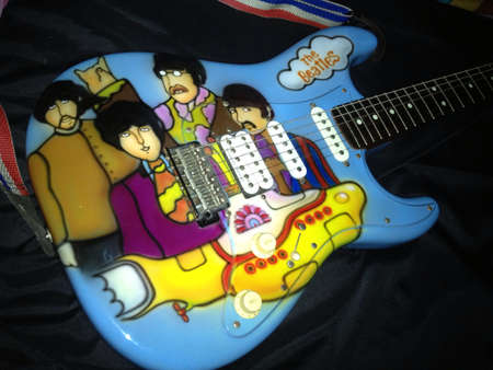 stratocaster: The Beatles Yellow Submarine theme airbrushed on a stratocaster guitar
