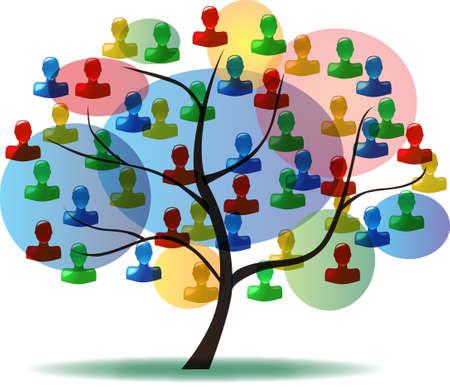 arbol geneal�gico: �rbol de colorido con las personas conectadas representados por el icono de amigos