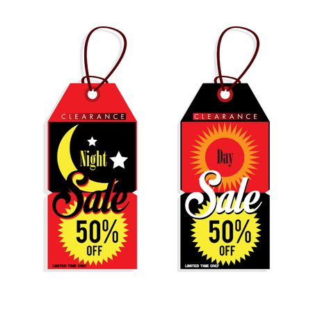 night and day: sale tag night day