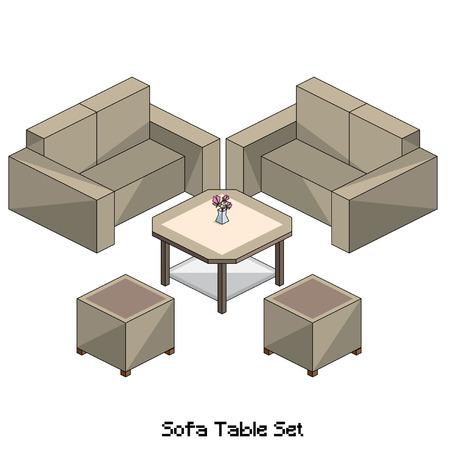 table set: isometric sofa table set