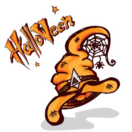 halloween witch hat Illustration