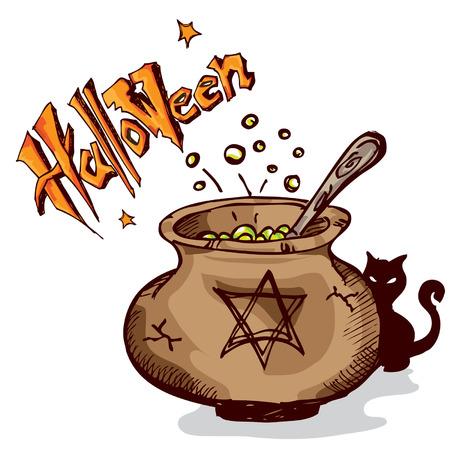 pocima: olla de bruja de Halloween Vectores