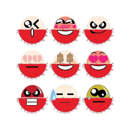 icon face rambutan Illustration