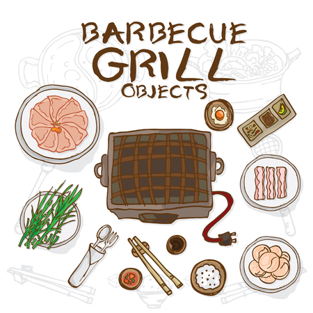 barbecue grill objects Illustration