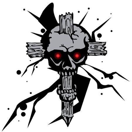 crucifix skull pattern graphic Illustration