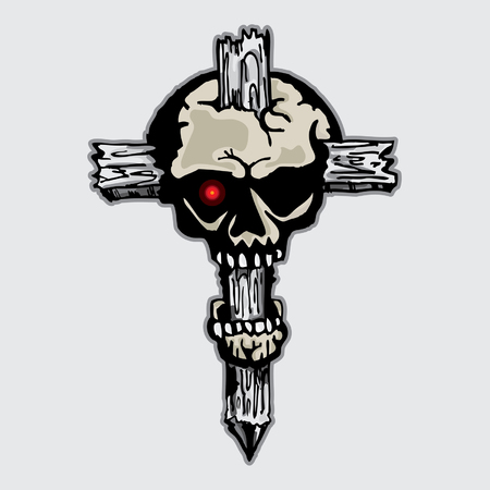 kruzifix: Kruzifix Schädel-Muster-Grafik